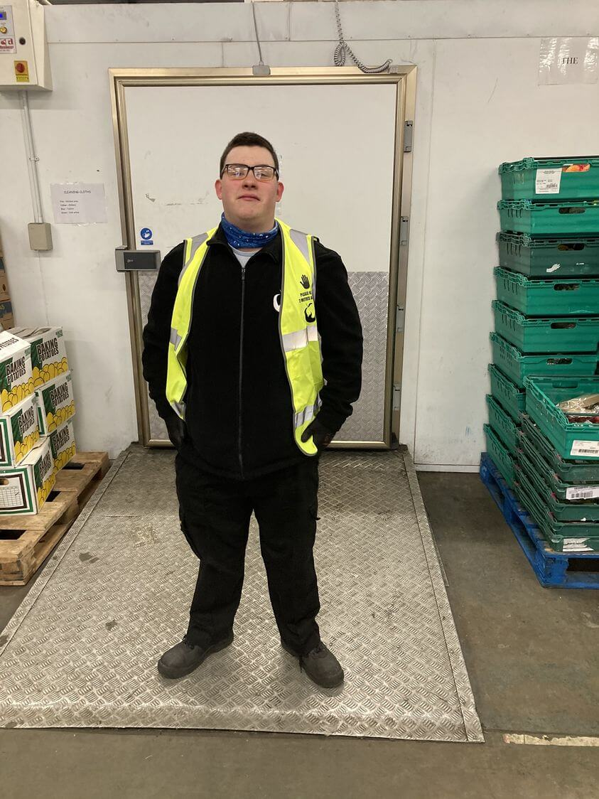 Young trainee Dean at our FareShare warehouse