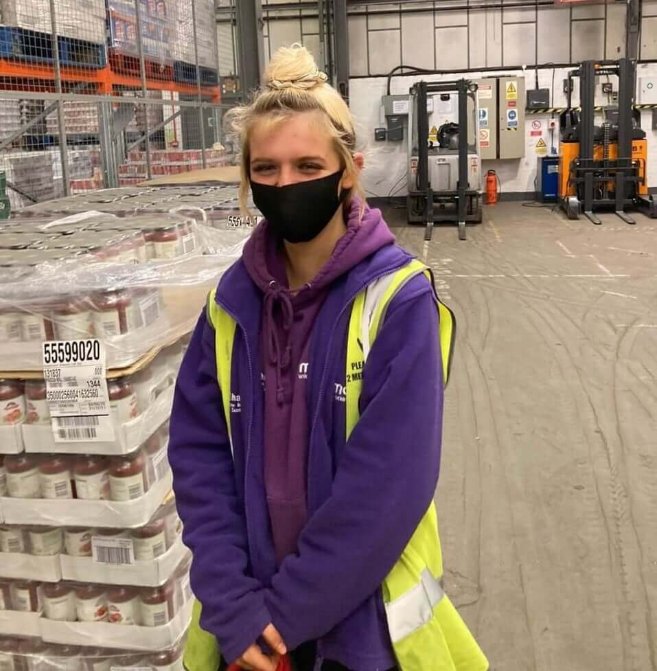 Young trainee Rebekah at our FareShare warehouse